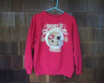 Vintage 1988 San Francisco 49ers Super Bowl Champs Red Crewneck Sweatshirt