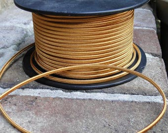 250' Antique Gold Rayon Cloth Electrical Wire, Old Cord Lamp Parts