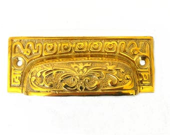 Old Fashioned Solid Brass Victorian BIN PULL, Vintage Replica Hardware for Restoration