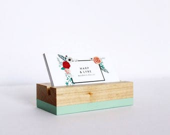 Business card gift etsy painted wood business card holder business cards wooden recipe card holder office organization reheart Gallery