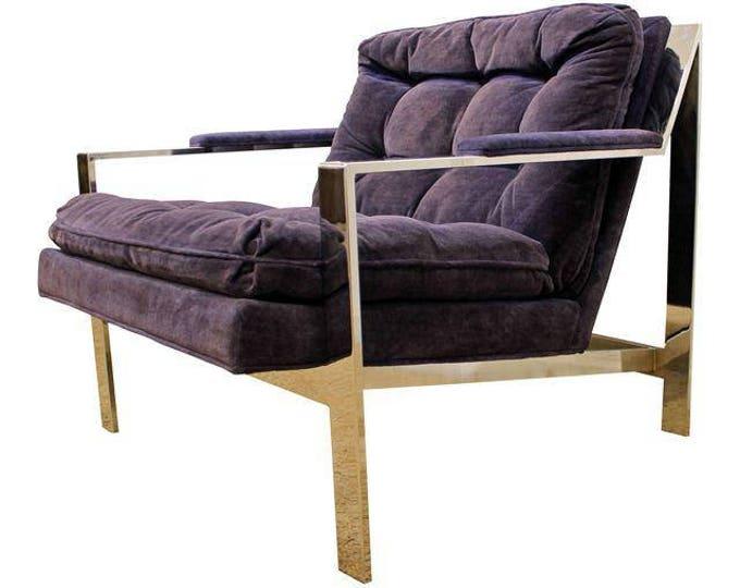 Mid-Century Modern CY Mann Milo Baughman Style Chrome Cube Lounge Chair #2