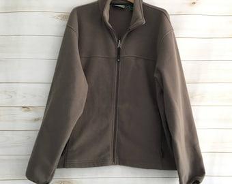 Vintage L.L Bean Brown Fleece Full Zip Hunting Camping Jacket Mens Large