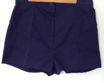 St. Michael Navy Blue Shorts - High Waist - Vintage - Tennis - Summer - UK Made -