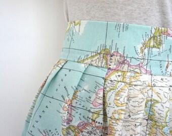 Jupe de professeur de géographie, jupe carte mondiale, jupe enseignant élémentaire, jupe de professeur de l'école primaire, tenue de professeur, voyage jupe