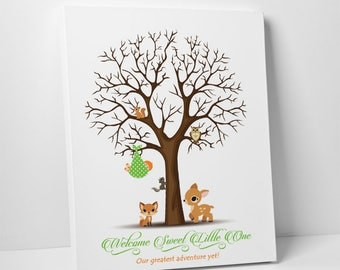 Woodland Themed Baby Shower, Guestbook Thumbprint Tree, Baby Shower Thumbprint Tree, Forest Friends Keepsake Thumbprint Poster