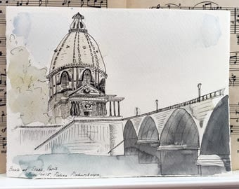 Institut de France, Paris watercolor painting