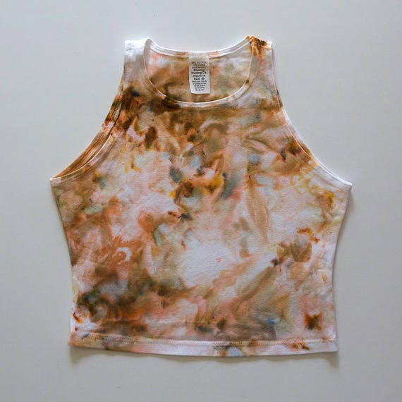 S Beige Watercolor High Neck Crop Top