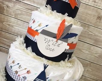 Wild One Tribal Diaper Cake, Tribal Diaper Cake in Navy and Orange