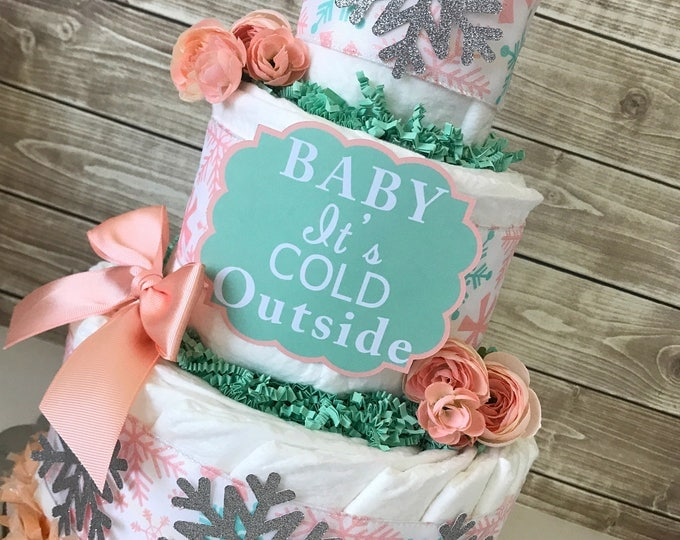 Featured listing image: Baby It's Cold Outside Diaper Cake in Mint, White and Coral, Winter Baby Shower Centerpiece