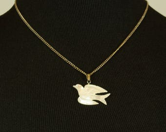 Hand Carved Mother of Pearl Dove Pendant Necklace Peace Dove Pendant