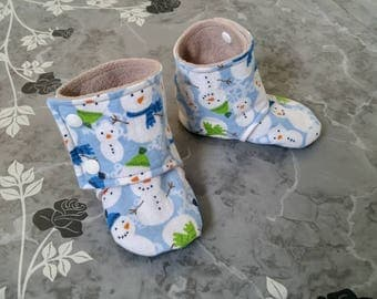 Baby Boots - Snowpeople (baby shoes, baby boots, holiday, winter baby, baby shower gift)