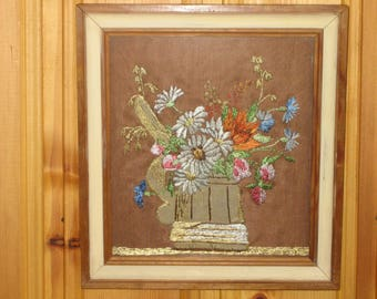 Vintage Swedish Silk Embroidered Framed Picture