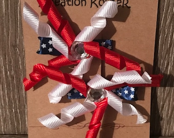Red white and blue fireworks alligator clips. Set of 2.