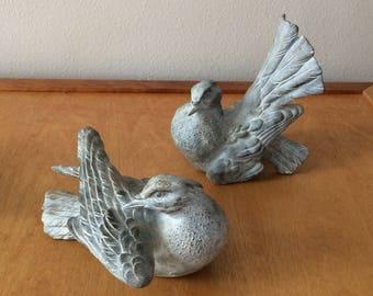 Set of 2 Vintage Pigeon - Great for Wedding Decor - Grey Resin