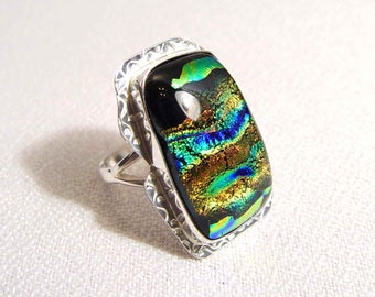 DICROHIC GLASS Sterling Silver Ring Size 8 Just STUNNING Artisan Made One of A Kind