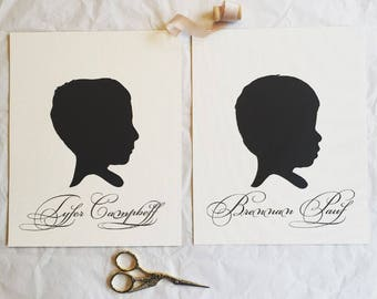 Custom Hand Cut Silouhette Portrait-8x10 hand traced and cut. NAME INCLUDED.