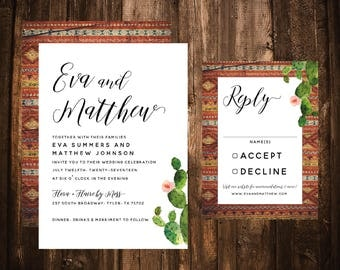 Southwest Cactus Wedding Invitations; Aztec; Western; Printable OR set of 25