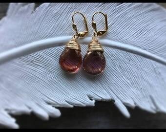Gold Dangly Earrings - Golden Rose