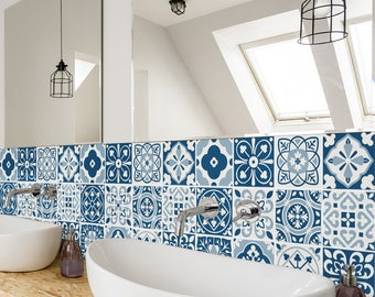 moroccan kitchen tiles uk. blue moroccan tiles - wall stairs tile stickers removable kitchen bathroom decal uk