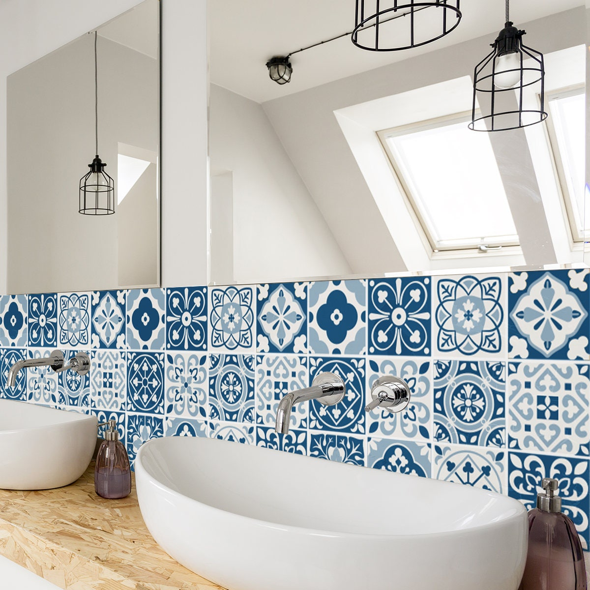 Blue moroccan tiles wall stairs tile stickers zoom dailygadgetfo Choice Image