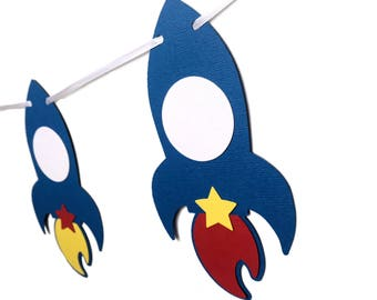 Rocket Space Party Banner. Birthday boy girl, Birthday Party, Bunting, Garland. Baby shower, first birthday party. Space stars science party