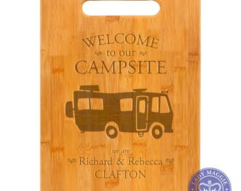 Personalized RV Camper Cutting Board 11.5 x 8.75 - Welcome to our Campsite Bamboo Custom Engraved Cutting Board - Camper Welcome Decor
