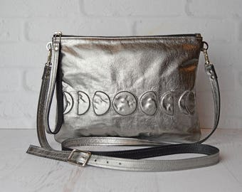 Metallic Gunmetal Leather Crossbody Clutch w Phases of the Moon, Leather Pouch, leather clutch , leather cross body , wristlet , moonphase