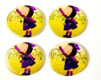 4 x 30mm Little girl in Purple wooden buttons