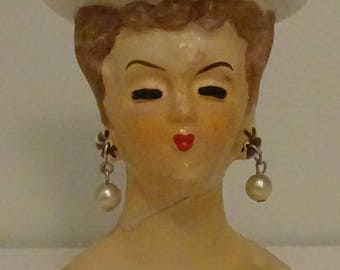 Miniature Lady Head Vase Planter circa 1960's  - Made in Japan - Repaired