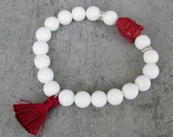 ON SALE Gypsy chic Buddha bracelet, white and burgundy, gemstone beaded bracelet tassel, hippy chic boho soul, yoga zen jewelry, Shabby chic