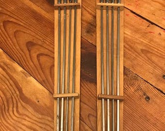 Set of Two Stainless Steel Skewers on Wooden Boards