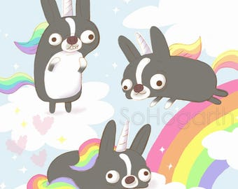 "Boston Terrier Magical Rainbow Creatures. 8x11"" Matte Paper Art Print"