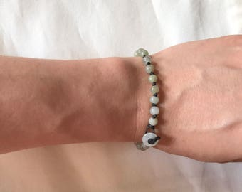 Leather cord beaded jade bracelet