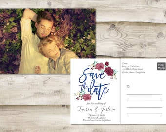 Floral Rustic Save The Date Postcard, Postcard Save the Date, Photograph Save the Date, Floral Save the Date Card, Rustic Floral Postcard