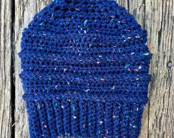 Beanie in Navy Tweed // Willow Beanie // Ready To Ship