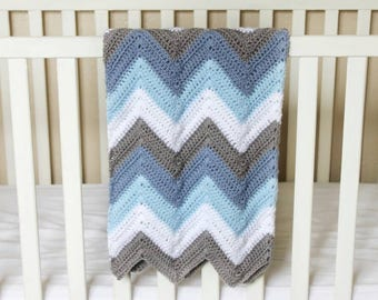 Blue Chevron Blanket, Blue and Grey Baby Blanket, Blue Stripe Baby Blanket, Blue and White Baby Blanket, Baby Shower Gift, Crib Blanket