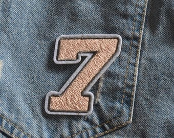 Embroidered Pink Numbers Seven Iron On Back Patch, Sew on Numbers Seven Applique