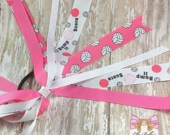 Volleyball Pony-O Hair Streamer~ ponytail streamer, volleyball bow, volleyball hairbow, volleyball hair bow