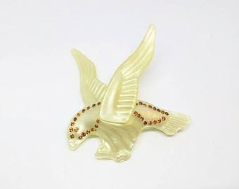 1930s Pearly Celluloid Rhinestone Eagle Brooch Large Figural Brooch