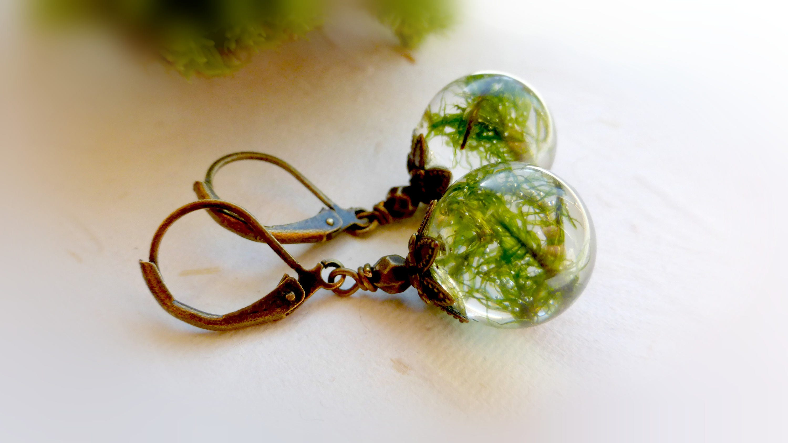 Green Moss Eco Resin Drop Earrings Grass Terrarium Jewellery # Terrarium Dangle