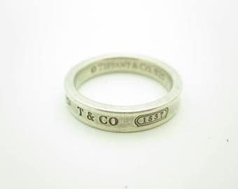 Tiffany & Co. Sterling Silver 1837 Collection Narrow Band Ring Size 6 1/2