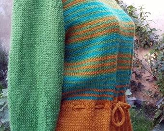 """PULL multicolore tricoté main """"Amandine"""""""