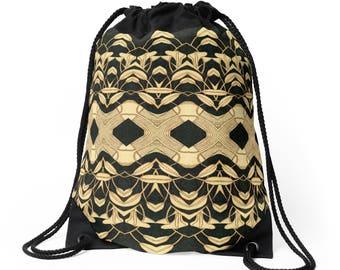 Drawstring Shoulder Bag - Backpack w/Unique Solar Etched Design ~ 'Lilies #1' / Sophisticated, Classy, Unique — Solar Art ~ Solar Pyrography