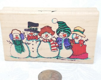 Snow Buddies Rubber Stamp by Stampressions, Wood Mounted Snowmen Stamp Snowman Stamp, Holiday Stamp Christmas Card Stamp Card Making Retired