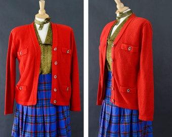 Vintage 80s Cardigan Sweater, Karen Scott Sweater, Granny Sweater, Preppy School Girl Style, Retro Wool Cardigan Women's Size Small