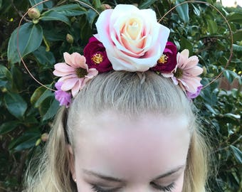 Light & Dark Pink Peony Rose Daisy Disney Floral Wire Mickey Mouse Ear Headband Handcrafted