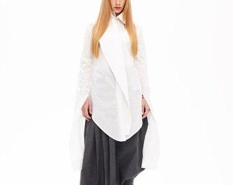 Shirts On Sale Now Long Top, Fancy Top, White Top, Cotton Shirt, Long Sleeves Shirt, Feminine Top, Deconstructed Shirt, White Shirt, Tank Sh
