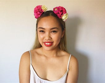 Beige X Pink 'AKIRA' Dahlia and Rose floral headpiece/headband