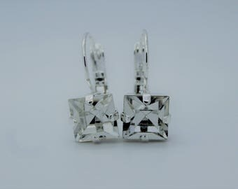 Silver Plated Square Leverback Earrings made with Clear Swarovski Crystal Elements. Earrings by Lady C