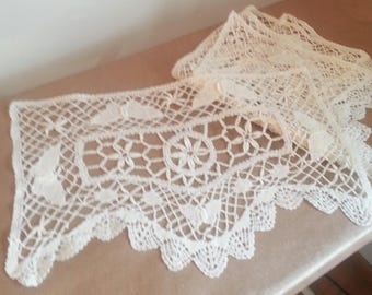 Vintage Lace Doiles Antimacassar with Butterflies